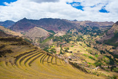 Expansive view of Inca terraces in Pisac, Sacred Valley, Peru Stock Image