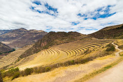 Expansive view of Inca terraces in Pisac, Sacred Valley, Peru Stock Images