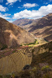 Expansive view of Inca terraces in Pisac, Sacred Valley, Peru Stock Photo