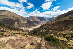 Expansive view of the Sacred Valley, Peru from Pisac Royalty Free Stock Photography
