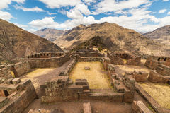 Expansive view of the Sacred Valley, Peru from Pisac. Inca site, major travel destination in Cusco region, Peru. Ancient Inca ruins in the foreground Stock Photos