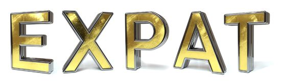 Expat to golden text. Expat to 3d rendered gold and silver color text on white royalty free illustration