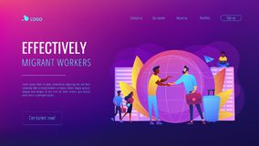 Expat work concept landing page. Human resources agency for migrants. Help hub. Expat work, effective migrant workers, expatriate programme, outside country royalty free illustration