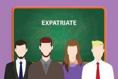 Expatriate white text on green chalk board illustration with four people standing in front of the chalk board Stock Image