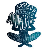 Expect nothing appreciate everything lettering over cosmic yoga Royalty Free Stock Photos