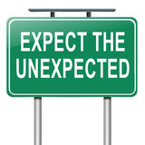 Expect the unexpected. Illustration depicting a roadsign with an 'expect the unexpected' concept. White background Royalty Free Stock Photos