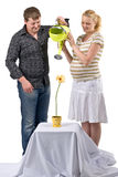 Expectant couple with flower. Happy expectant couple watering single flower, conceptual image of nurturing of life, white background stock images
