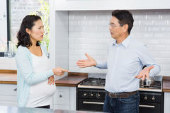 Expectant couple having argument Stock Images