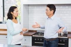 Expectant couple having argument Stock Images