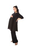 Expectant mom in stylish black blouse Stock Image