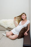 Expectant mother. Beautiful pregnant woman in anticipation of the newborn Stock Photos