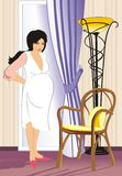 An expectant mother decided to rest. Vector illustration Royalty Free Stock Photography