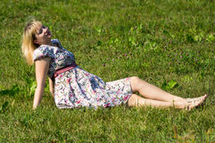 Expectant mother in the Park Stock Images