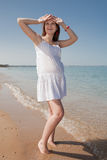 Expectant mother at the sea Stock Images
