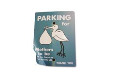 Expectant Mothers parking bending sign Stock Images