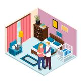 Expectation Baby Isometric Composition. Young man hugging pregnant woman in bedroom with child cot vector illustration Royalty Free Stock Photos