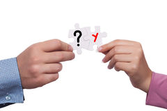 Expectation concept. Puzzles with question mark and chromosome symbol Royalty Free Stock Images