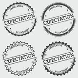 Expectation insignia stamp isolated on white. Expectation insignia stamp isolated on white background. Grunge round hipster seal with text, ink texture and Royalty Free Stock Images