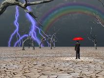 Expectation. Man takes in storm protected under umbrella Royalty Free Stock Photo