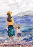Expectation. Mother and son are waiting at coast Royalty Free Stock Images