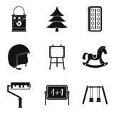 Expectations child icons set, simple style Stock Image