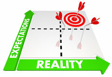 Expectations Vs Reality Matrix Best Possible Outcome 3d Illustration royalty free illustration