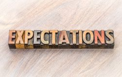 Expectations word abstract in wood type Royalty Free Stock Image