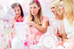 Best Friends on baby shower party celebrating Stock Photography