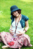 Expecting young happy woman Royalty Free Stock Images