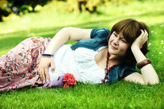 Expecting young happy woman Stock Image
