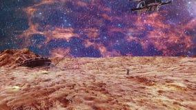Expedición de la gente al Marte ilustración del vector