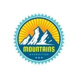 Expedición de las montañas - ejemplo de la plantilla del logotipo del vector Muestra creativa de la insignia de la aventura al ai libre illustration