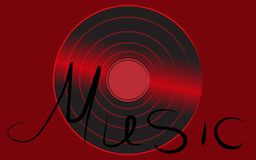 Expediente de gramófono antiguo retro análogo musical del vintage del inconformista del vinilo iridiscente rojo viejo para el mus ilustración del vector