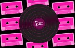 Expediente de gramófono retro análogo musical del vintage del inconformista del vinilo violeta viejo para un gramófono del vinilo stock de ilustración