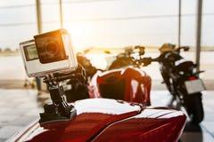 Expediente de la acción de la cámara en la motocicleta para viajar de la seguridad Fotos de archivo libres de regalías