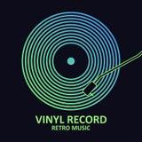 Expediente de vinilo Cartel de la música con el disco del vinilo Diseño para la cubierta o el logotipo musical Vector ilustración del vector