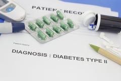 Expediente del paciente con diagnosis como tipo de la diabetes - 2 Imagen de archivo