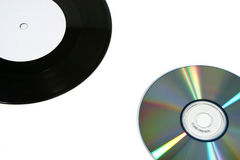 Expediente y CD de vinilo (cercanos) Foto de archivo