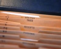 Expedientes de impuesto Imágenes de archivo libres de regalías