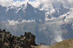Expedition. In the mountains of Brevent overlooking the Mont Blanc massif Royalty Free Stock Images