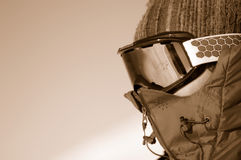 Expedition. Man wearing goggles and hot jackett Royalty Free Stock Photo