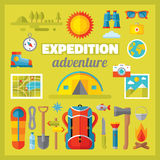 Expedition adventure - vector icons set in flat style design. Summer travel vector signs collection. Tourism flat icons. Camp flat icons. Design elements Royalty Free Stock Photo