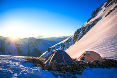 Expedition camping in tent on Mount Everest. Extreme sport concept Royalty Free Stock Photo