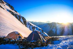 Expedition camping in tent on Mount Everest. Extreme sport concept royalty free stock images