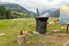 Free Expedition Campsite And Cooking Place With Iron Oven Royalty Free Stock Images - 70124189