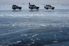 Expedition cars. Frozen ocean expedition in 2015 stock image