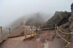 Expedition conquered peak of Vesuvius. Expedition researches the Italian volcano Vesuvius Stock Image
