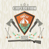Expedition emblem forest camp. In flat style and bright colors Royalty Free Stock Photo