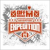 Expedition - emblem med för av-väg för medel 4x4 beståndsdelar design vektor illustrationer