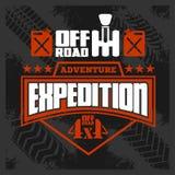 Expedition - emblem med för av-väg för medel 4x4 beståndsdelar design stock illustrationer